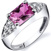 Oravo 2.00 Carat T.G.W. Created Pink Sapphire Rhodium-Plated Sterling Silver Engagement Ring