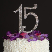 Quinceanera Number 15 Cake Topper - Rhinestone Metal Fifteenth Birthday Quinceañera Decoration