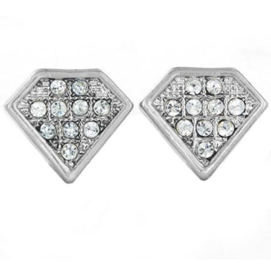 Silver-Tone Micro-Pave Crystal Diamond-Shaped Stud Post Earrings