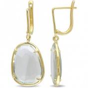 Tangelo 13-3/4 Carat T.G.W. Green Quartz Yellow Rhodium-Plated Sterling Silver Clip-Back Dangle Earrings
