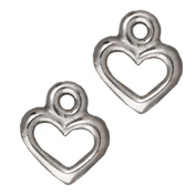 Rhodium Plated Pewter Open Heart Charm 9mm