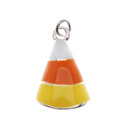 Silver Plated With Yellow Orange White Enamel Halloween Candy Corn Charm