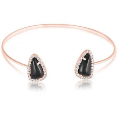 Women's Sterling Silver Rose Gold Black Onyx and Cubic Zirconia Geometric Cuff Bangle