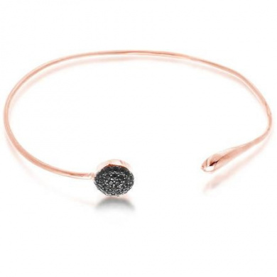Women's Sterling Silver Rose Gold Cuff Bangle with Round Black Cubic Zirconia
