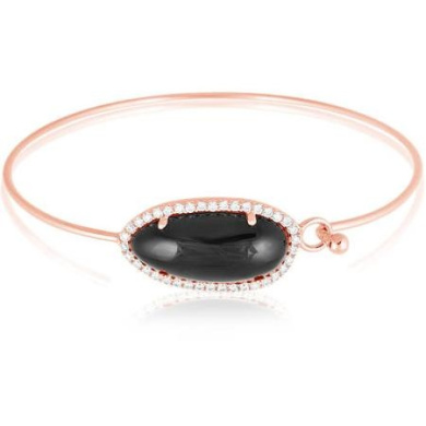 Women's Sterling Silver Rose Gold Hook Bangle with Oval Black Onyx and Cubic Zirconia