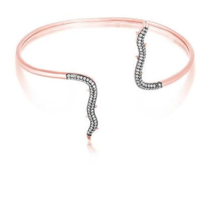 Women's Sterling Silver Two-Tone Cuff Bangle with Rose Gold and Black Rhodium Cubic Zirconia Thorn