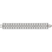 X & O Handset Austrian Crystal Rhodium-Plated 23mm Box Pattern Bracelet