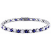 14-1/4 Carat T.G.W. Created Blue and White Sapphire Sterling Silver Tennis Bracelet, 18cm - 0.6cm