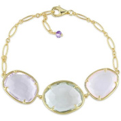 Tangelo 25-1/8 Carat T.G.W. Amethyst with Green and Rose Quartz Yellow Rhodium-Plated Sterling Silver Triple Rondell Link Bracelet, 20cm