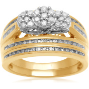 1/2 Carat T.W. Three-Stone Baguette and Round Diamond Composite Head 18Kt Yellow Gold Over Silver Bridal Set, Size 7 only