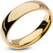 Steel Art Men's Stainless Steel 5mm Plain Gold Wedding Band with High-Polish Finish