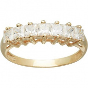 Brilliance Princess CZ 10kt Yellow Gold Band, Size 7