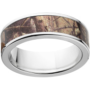 Realtree AP Men's Camo 7mm Stainless Steel Wedding Band with Polished Edges and Deluxe Comfort Fit
