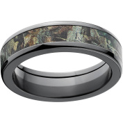 Realtree Timber Men's Camo 6mm Black Zirconium Wedding Band with Polished Edges and Deluxe Comfort Fit