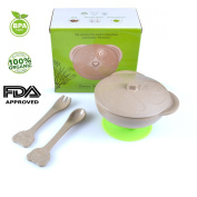 5-piece Kids Dinnerware Set Including One Bowl with Lid,spoon, Fork and Suction. 100% Organic,eco-friendly,bio-degradable Material,fda-approved,bpa-free. included