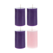 Christmas Advent Unscented 5.1cm x 7.6cm Pillar Candles Pack of 4