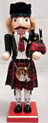 Scottish Bagpiper Wearing a Kilt Wooden Christmas Nutcracker 36cm