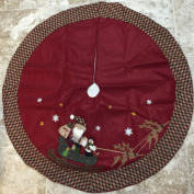 120cm Christmas Tree Skirt Featuring Santa and a Snowman on a Sled Being Led by Reindeer