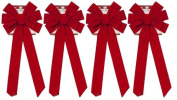 Red Velvet Bow (4 Pack) 70cm Long 25cm Wide 10 Loop Holiday/Christmas Bow