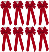Red Velvet Bow (8 Pack) 70cm Long 25cm Wide 10 Loop Holiday/Christmas Bow