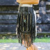 Boho Bag Round L   Real Leather   Fringe Purse   Bohemian Bags