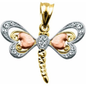 Handcrafted 10kt Gold Tri-Colour Dragonfly Charm Pendant