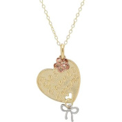 """Sterling Silver and 18kt Gold Plate """"Best Friends"""" Cut-Out Heart with Dangle Bow and Flower Pendant, 46cm"""