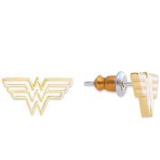 Yellow Plated WonderWoman Logo Stud Earrings