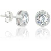 8mm CZ Sterling Silver Bezel-Set Men's Stud Earring