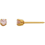 Home Ear Piercing Kit with 24kt Gold-Plated Stainless Steel 3mm Pink CZ Earring