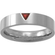 Star Trek Unisex Red Crystal Stainless Steel Band, 5mm