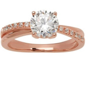 Brilliance Blush Cubic Zirconia Pink Gold Plating over Sterling Silver Ring, Size 7