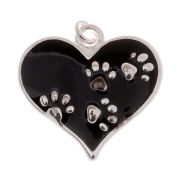 Silver Plated Black Enamel Animal Lover 2-Sided Heart Paw Print Charm 20mm