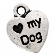 Fine Silver Plated Pewter Heart My Dog 2-Sided Charm 12mm
