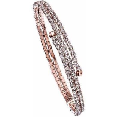 Women's 14kt Rose Gold-Plated Handset Austrian Crystals 2-Row Flex Bangle