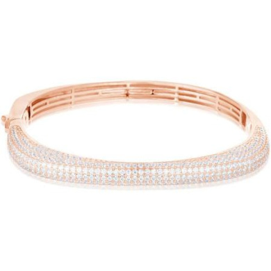 Women's Sterling Silver Rose Gold-Plated Square Hinge Bangle with Pave Cubic Zirconia