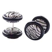 Steel and Acrylic Zebra Illusion Plugs
