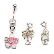 Body Art 14g Navel Curve with Flower, Palm and Flip Flop Dangle Charms, 3 Pack