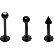 Body Magic Black Anodized Steel Labret Set, 3pc