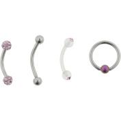 Hotsilver 16G Pink Crystal Eyebrow Value Pack