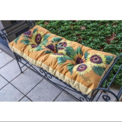 110cm Yellow and White Sunflower Themed Indoor/Outdoor Tufted Bench Cushion