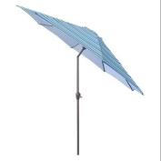 2.7m Outdoor Patio Market Umbrella with Hand Crank and Tilt - Blue Stripe