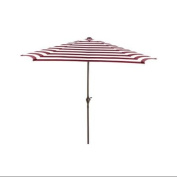 2.7m Outdoor Patio Market Umbrella with Hand Crank and Tilt - Burgundy and White Stripe