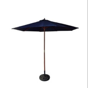 2.7m Outdoor Patio Market Umbrella - Navy Blue and Cherry Wood
