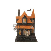 34cm Lighted Orange and Black Spooky Haunted House Halloween Table Top Decoration