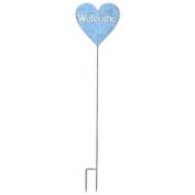 """Heart Shaped Garden Stake Inscribed with """"Welcome"""""""