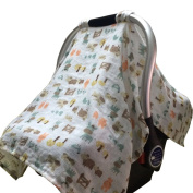 Vlokup Baby Infant Car Seat Covers Breathable Cotton Canopy - Baby Shower Gift Pasture