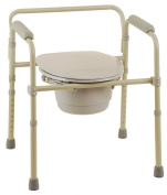 Healthline Trading Commode Chair Folding Bedside Commode Seat with Commode Bucket and Splash Guard