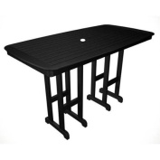 180cm Recycled Earth-Friendly Outdoor Tall Patio Dining Table - Black