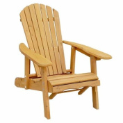 Leisure Season Reclining Adirondack Chair with Pull-Out Ottoman, Medium Brown